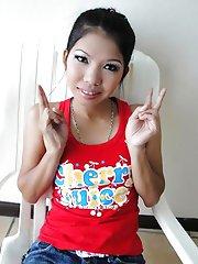 Cute little Asian teen named Jak strips then gets a creampie fuck