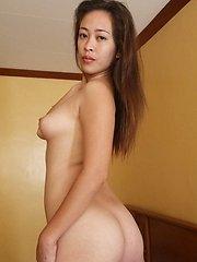 Half-white Filipina with hairy pussy savors white cock