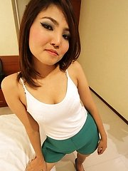 Sultry Thai babe uses her tight holes to pleasure lucky expat