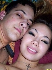 Selection of a horny Oriental GF in a threesome